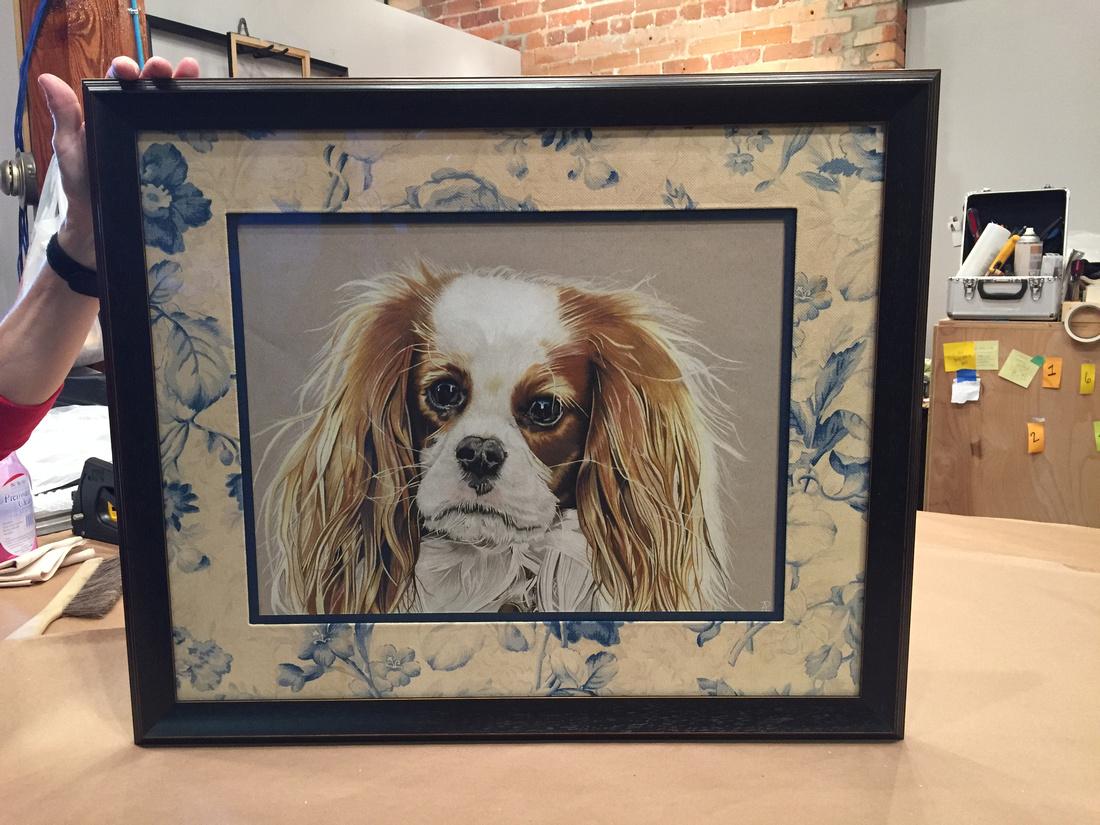 Bull City Art & Frame Company | Dog Pillow Framing Project